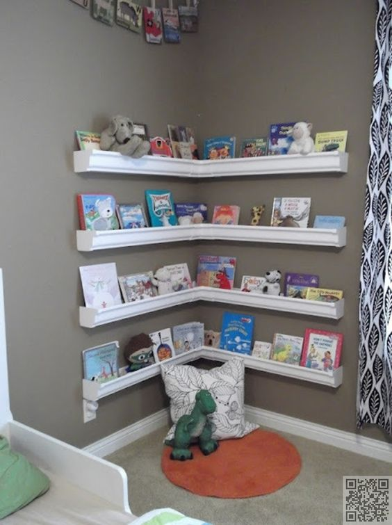 Rain Gutter Book Shelves in The Corner.