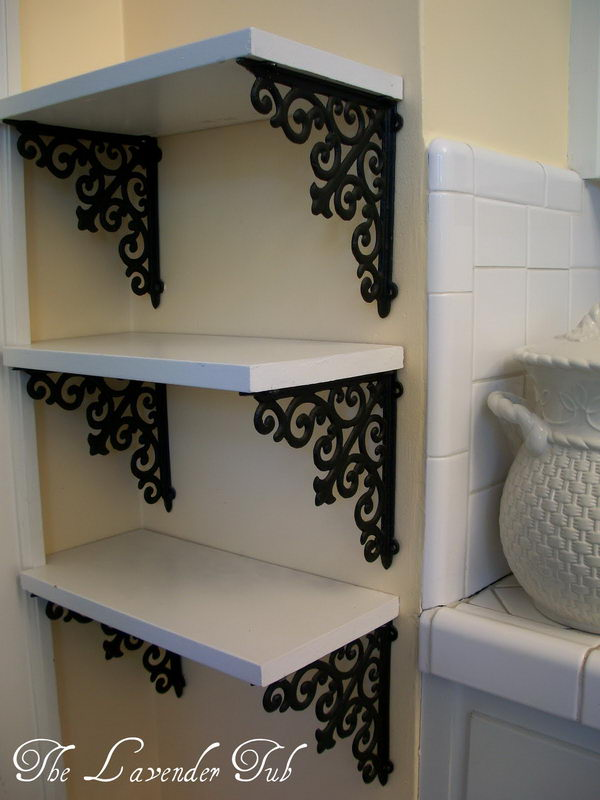 DIY Elegant Shelves with Brackets from Hobby Lobby and a Piece of Wood.