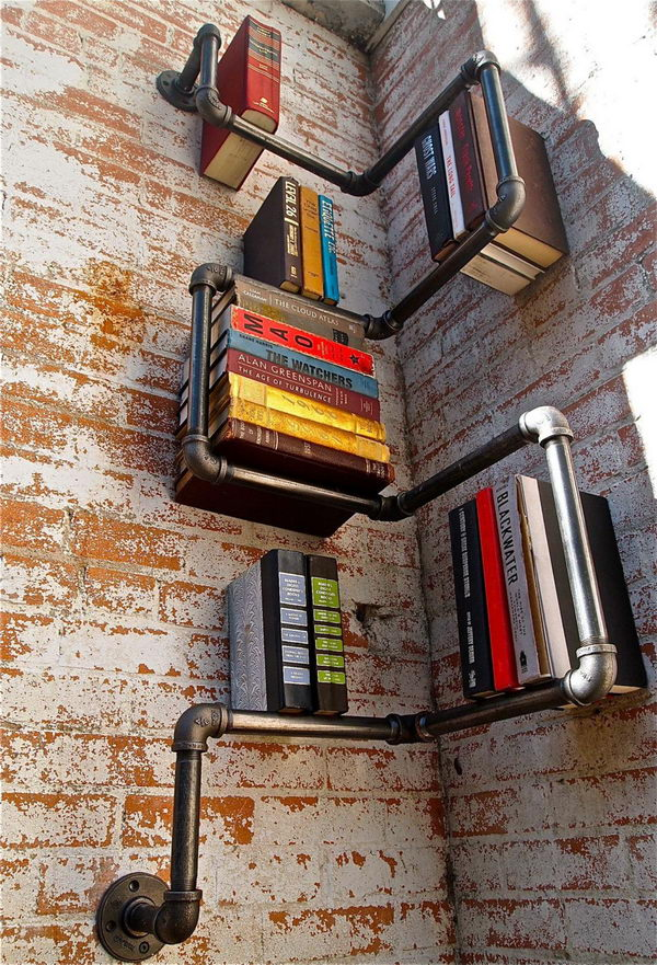 Creative Wall-Mounted Shelf Industrial Pipe Racks in the Corner.