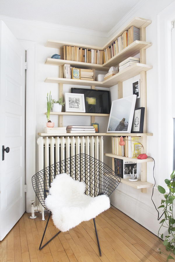Corner Shelving For Small Space.