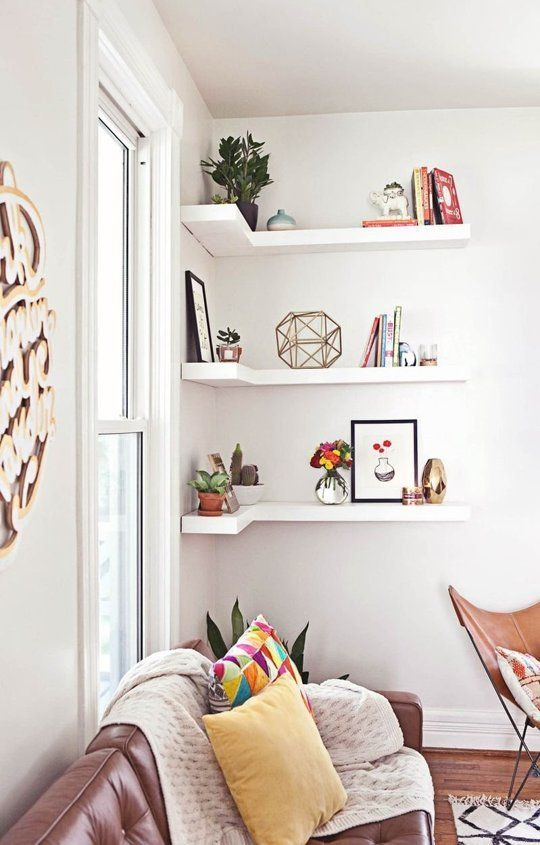 Floating Corner Shelves for Small Space.