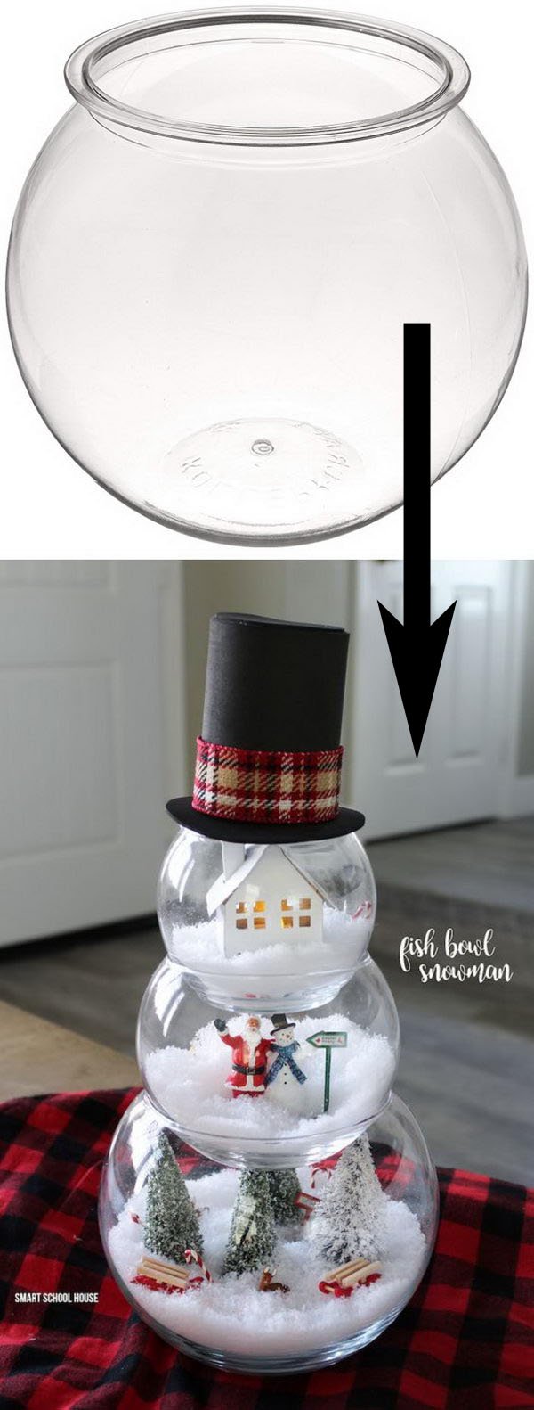 DIY Fish Bowl Snowman.