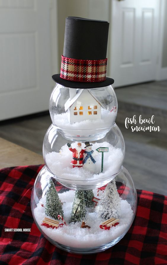 diy fish bowl snowman - Dollar Store Christmas Crafts