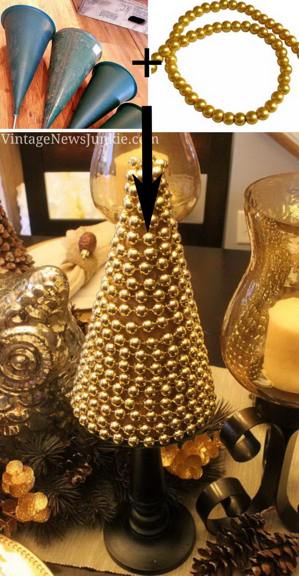 Upcycled Sparkly Christmas Tree Made with Gold Beads.