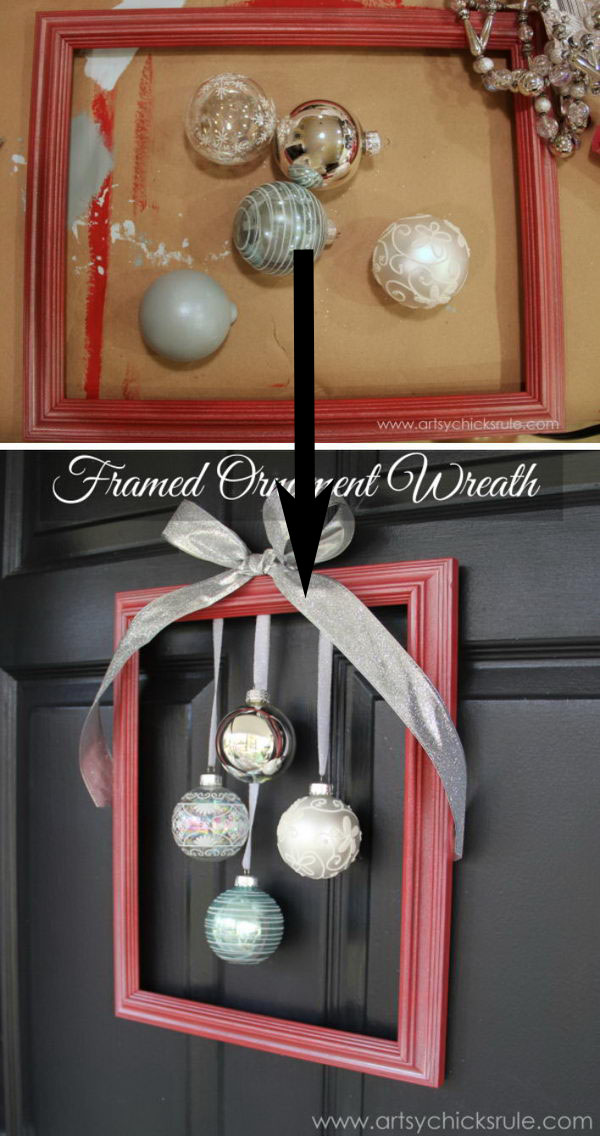 DIY Framed Ornament Wreath.