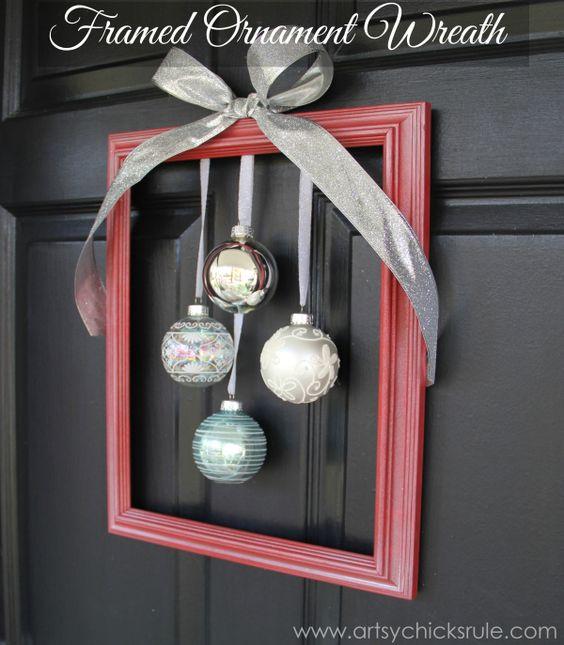 DIY Framed Ornament Wreath.