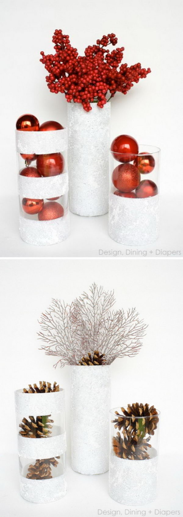 Dollar Tree DIY Christmas Winter Vases Painted with Snow Tex.