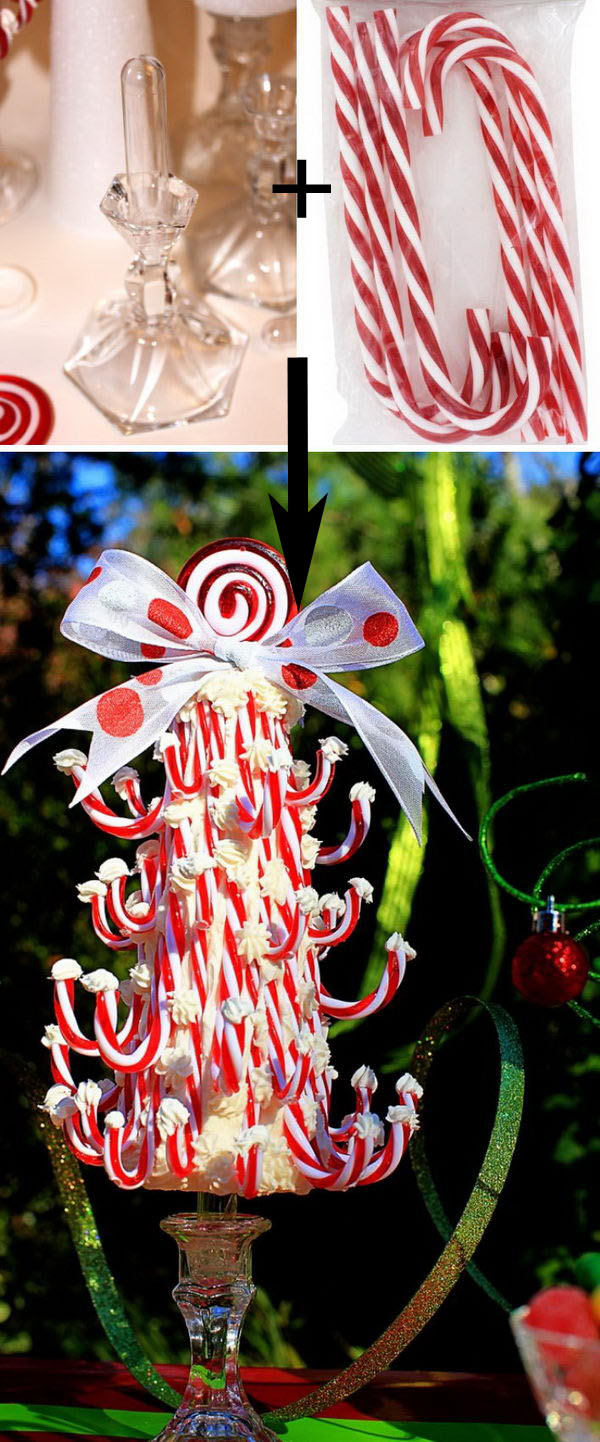 Dollar Store DIY Candy Cane Topiary Tree.