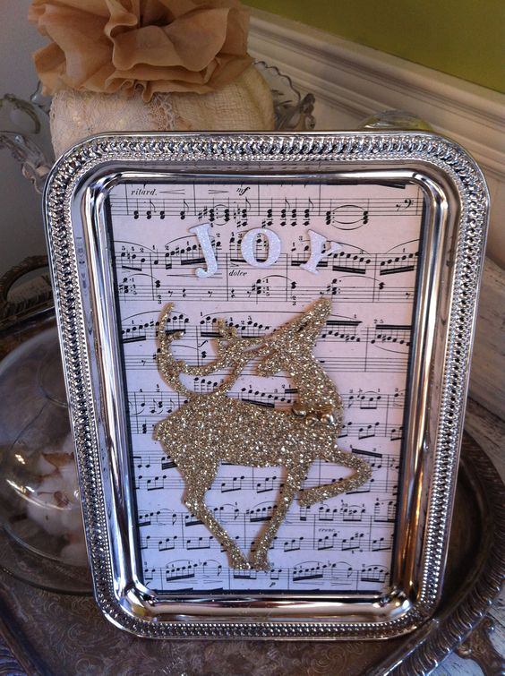 Dollar Tree Silver Tray & Reindeer.