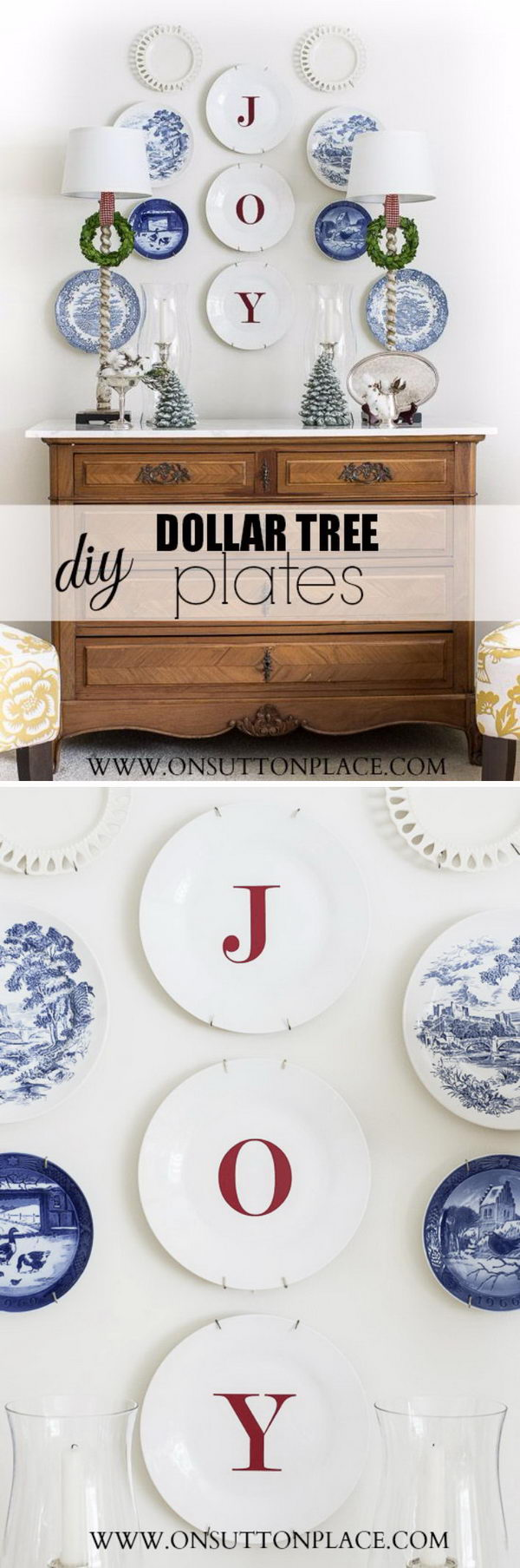 DIY Dollar Tree JOY Plates with a Super Simple Decal and Basic White Plates.