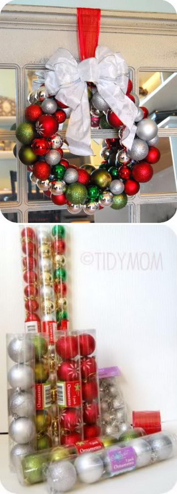 Dollar Tree Glass Ball Ornament Wreaths.