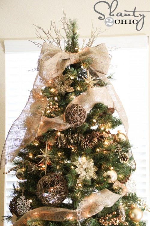 Rustic Burlap Bow Tree Topper.