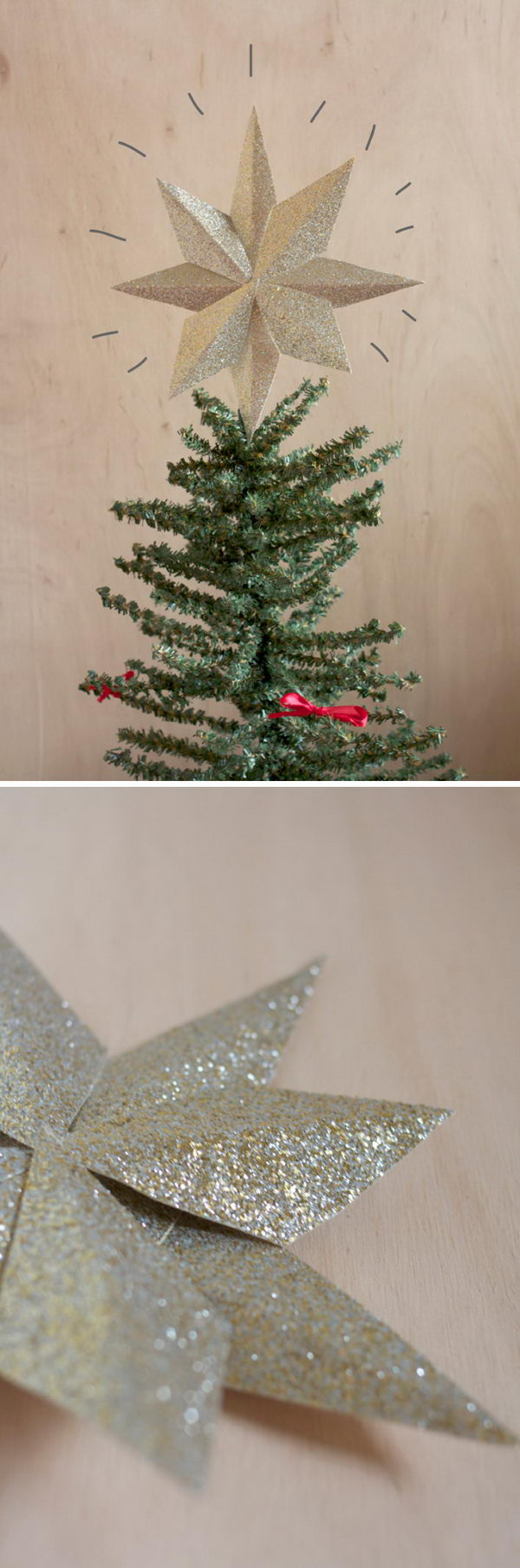 DIY Glitter Tree Topper with Glittered Paper.