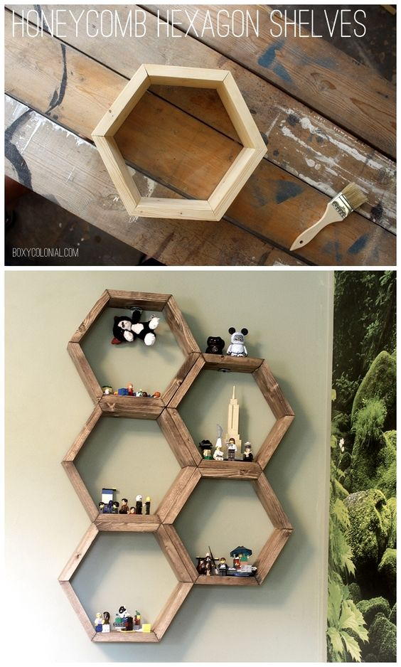 Cool Shelf Ideas Part - 25: DIY Hexagon Honeycomb Shelves