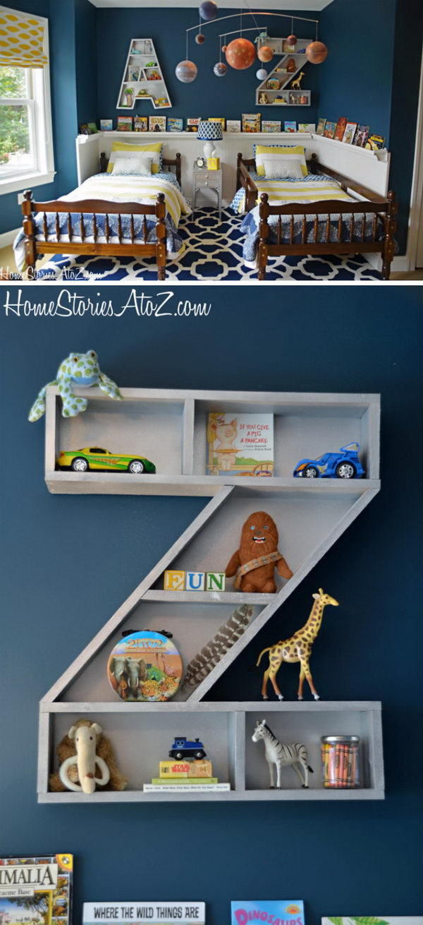 Homemade Letter Bookshelves.