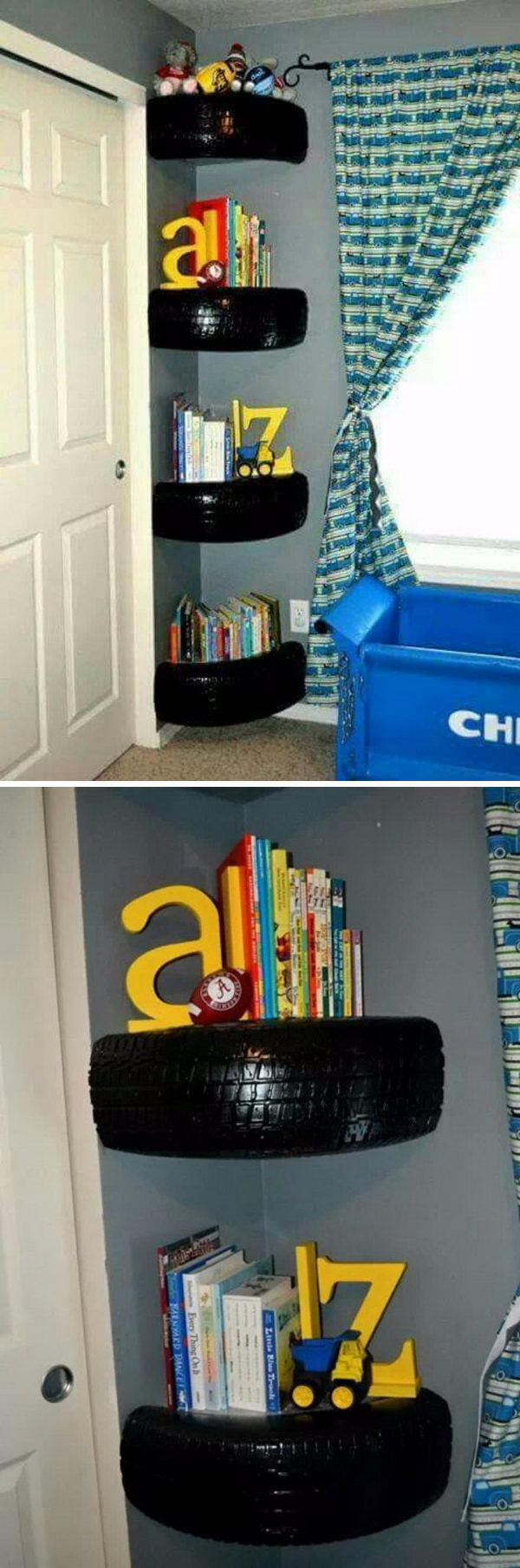 Tire Book Shelves.