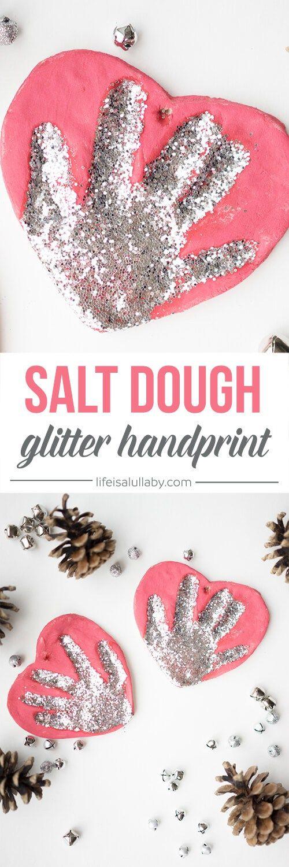 Salt Dough Glitter Handprint Ornaments.