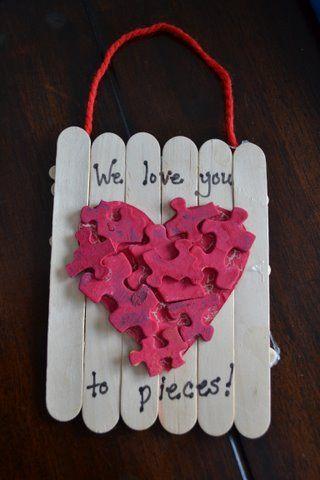 Puzzle Heart Valentine's Day Craft.