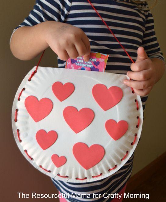Paper Plate Valentine Bag.