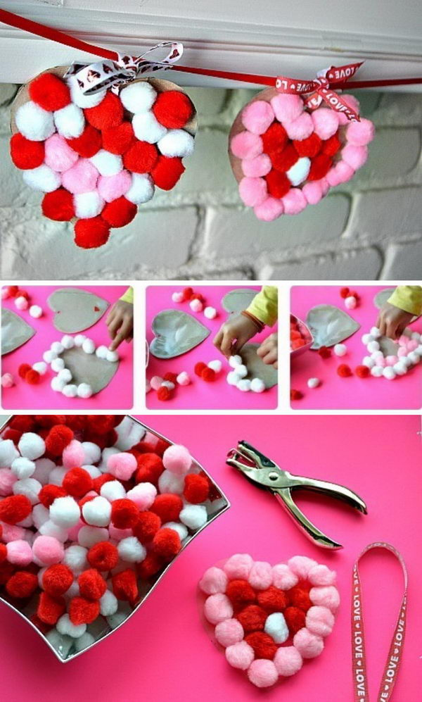Sticky Pom Pom Hearts Garland.