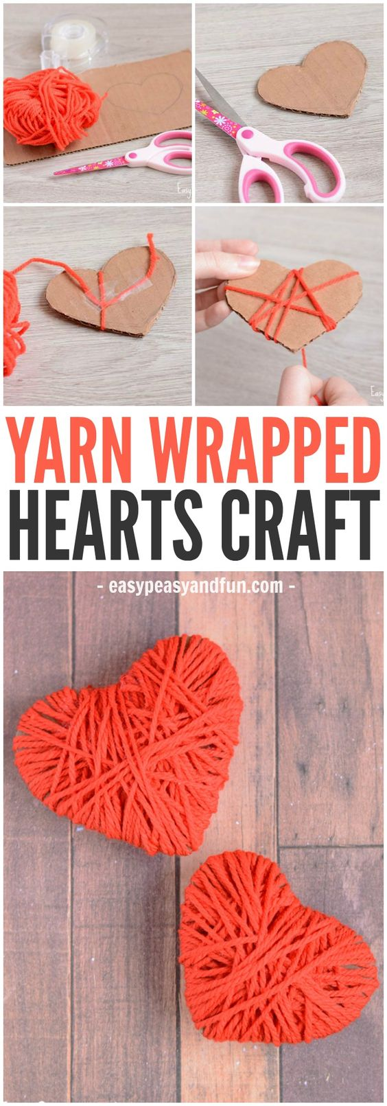 DIY Yarn Wrapped Hearts.