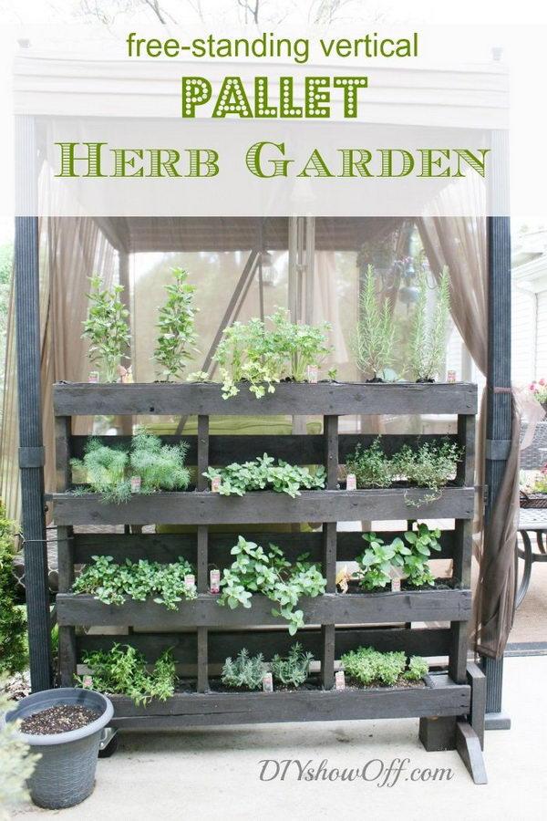 DIY Free Standing Pallet Herb Garden.