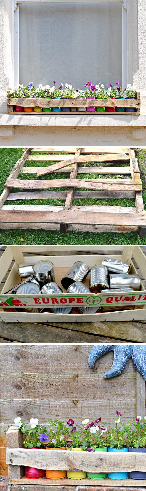 Pallet Holder with Colourful Tin Can planters.