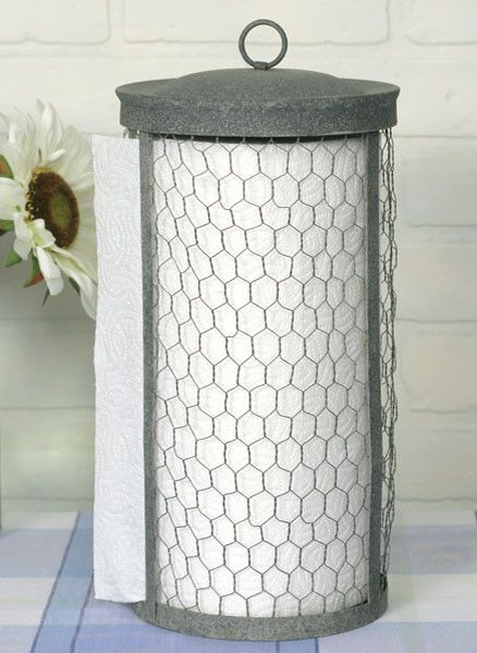 Chicken Wire Farmhouse Paper Towel Holder.