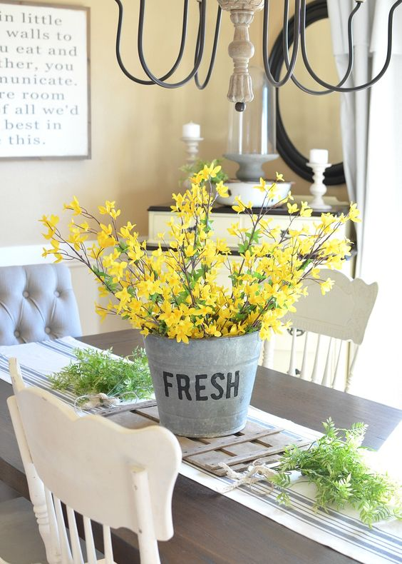 DIY Bucket of Flowers Centerpiece.