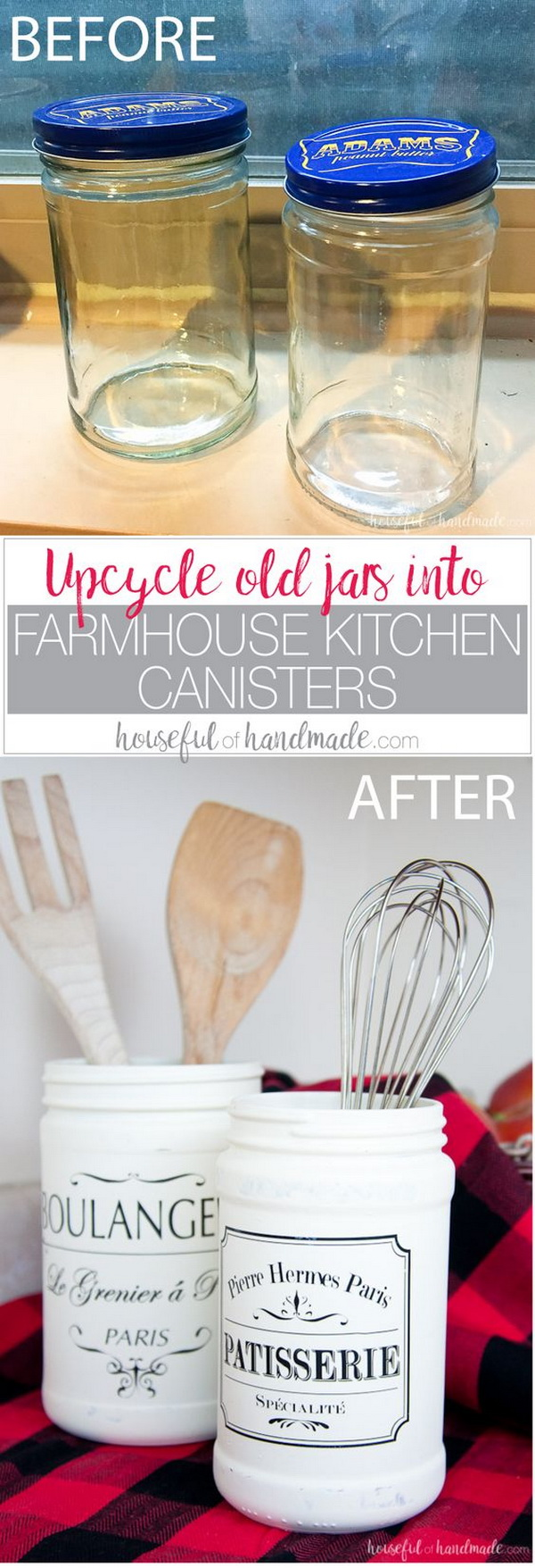 DIY Farmhouse Kitchen Canister from Mason Jars.