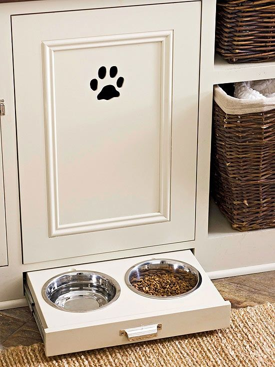 Pull Out Drawer for Dog Food.