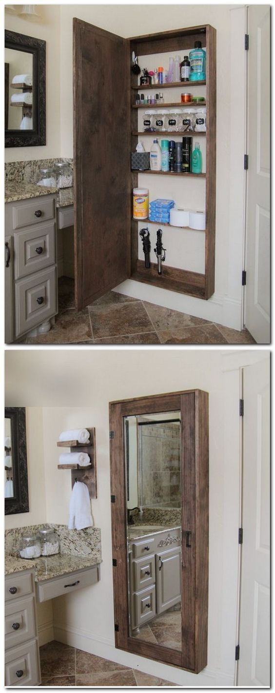 DIY Bathroom Mirror Storage Case.