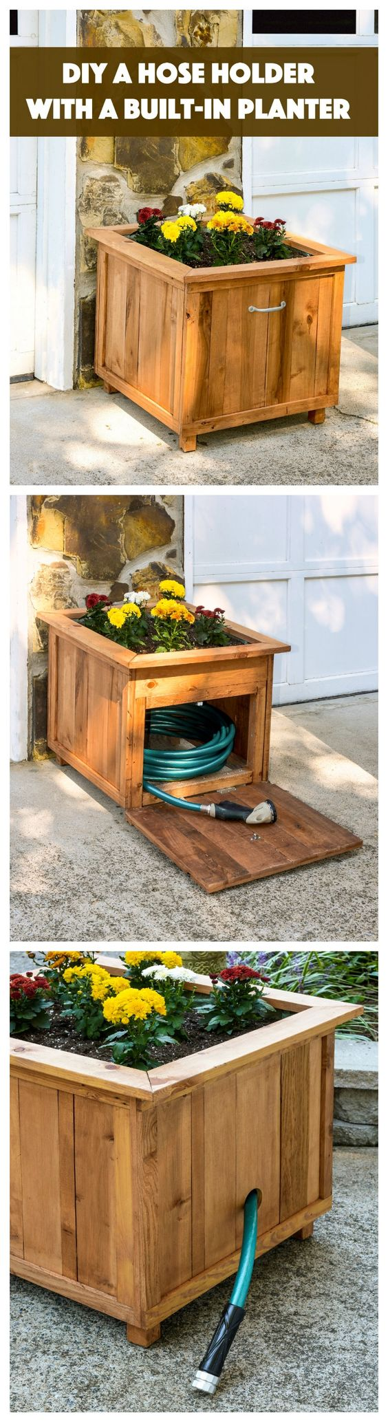 DIY Garden Hose Holder With Planter Using Recycled Pallet Wood.