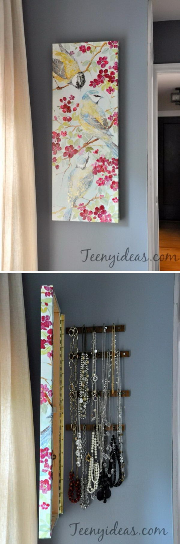 DIY Wall Canvas with Hidden Jewelry Storage.