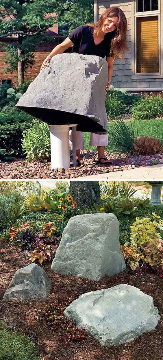Use Faux Giant Stone to Hide The Ugly Stuff in The Garden.