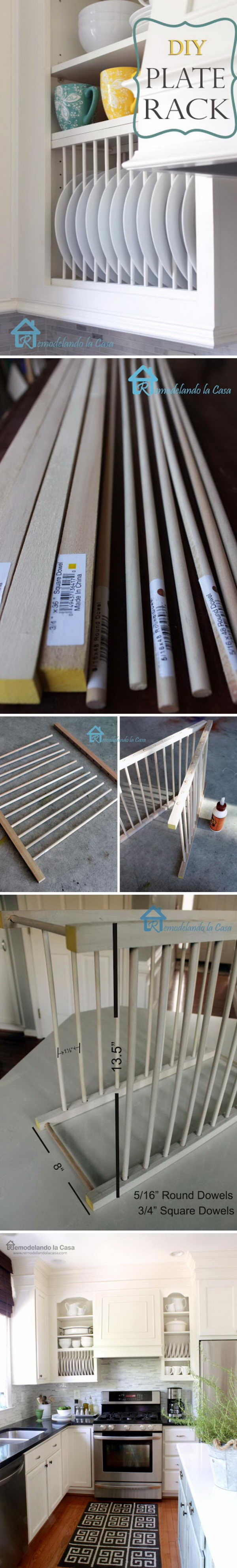 DIY Inside Cabinet Plate Rack.