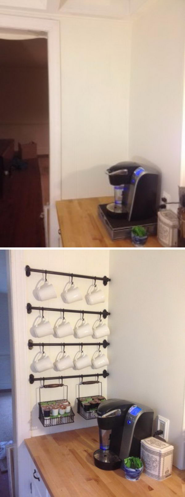 DIY Coffee Mug Wall Rack.