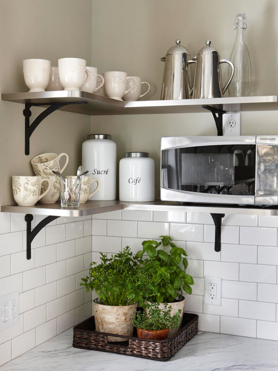 Functional Corner Shelves for Extra Space.