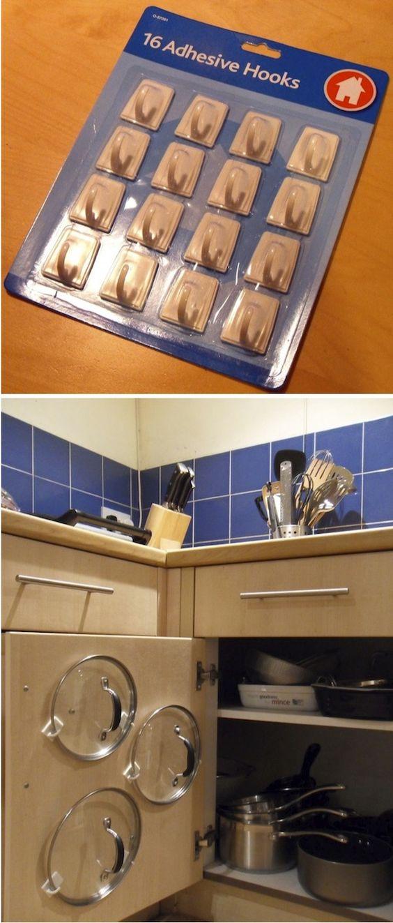 Adhesive Hooks Pot Lid Organizer.