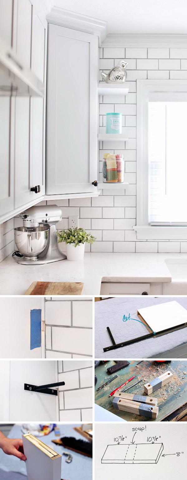 DIY Floating Shelves for Kitchen Cabinet.