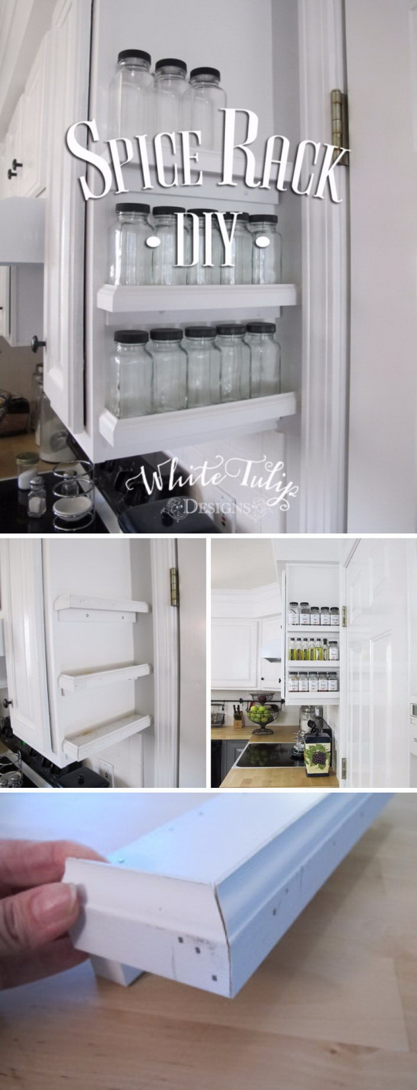 DIY Spice Rack Attached to Kitchen Cabinets.