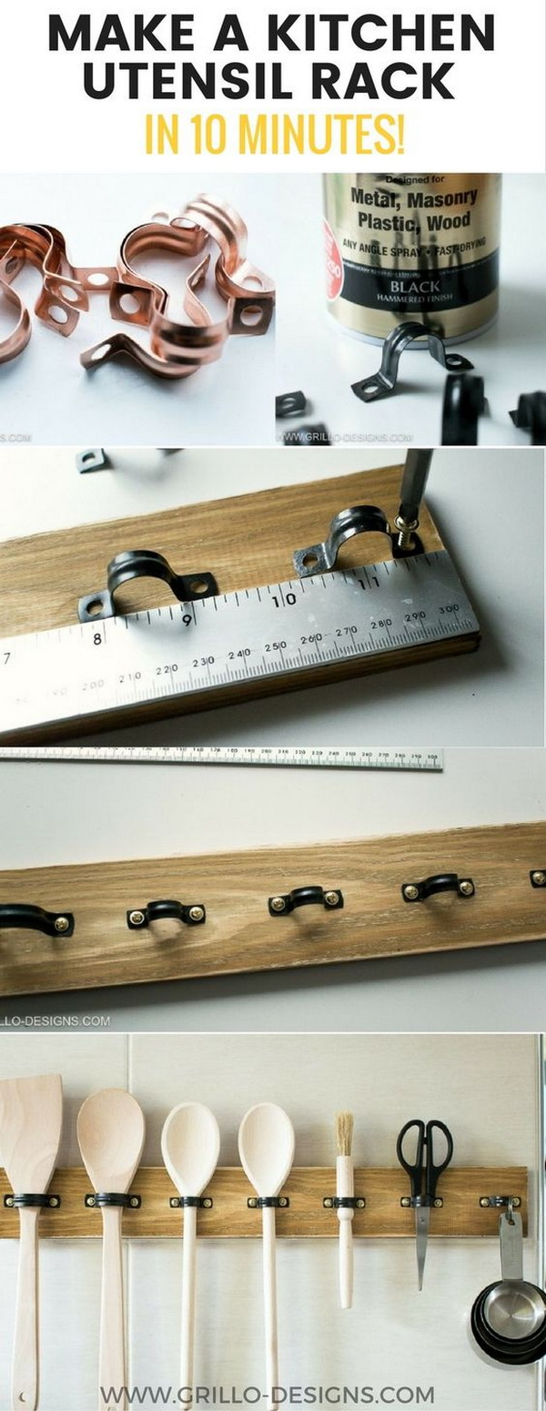 EASY DIY Rustic Utensil Rack.