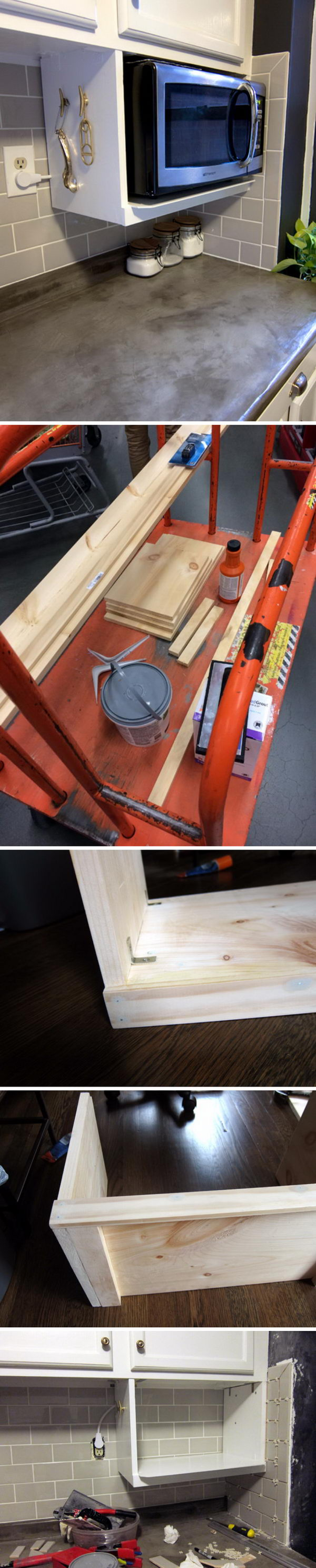 DIY Shelf for Extra Storage Under Kitchen Cabinet.