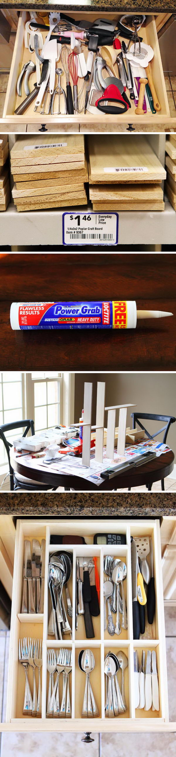 DIY Kitchen Utensil Drawer Organizer.
