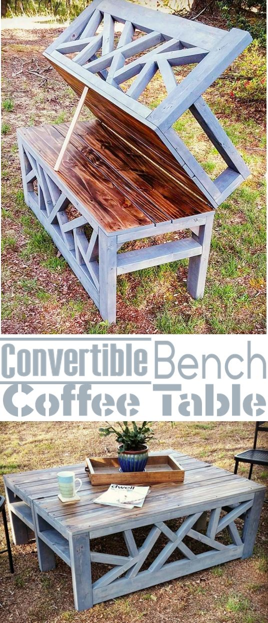 Outdoor Convertible Bench and Coffee Table.
