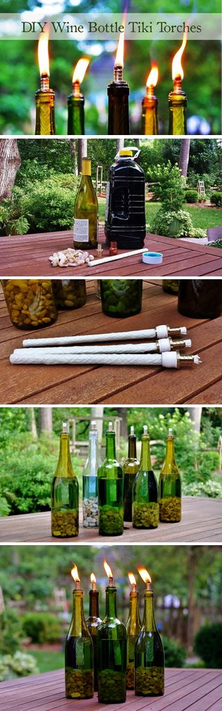 DIY Wine Bottle Tiki Torch for Backyard Lighting.