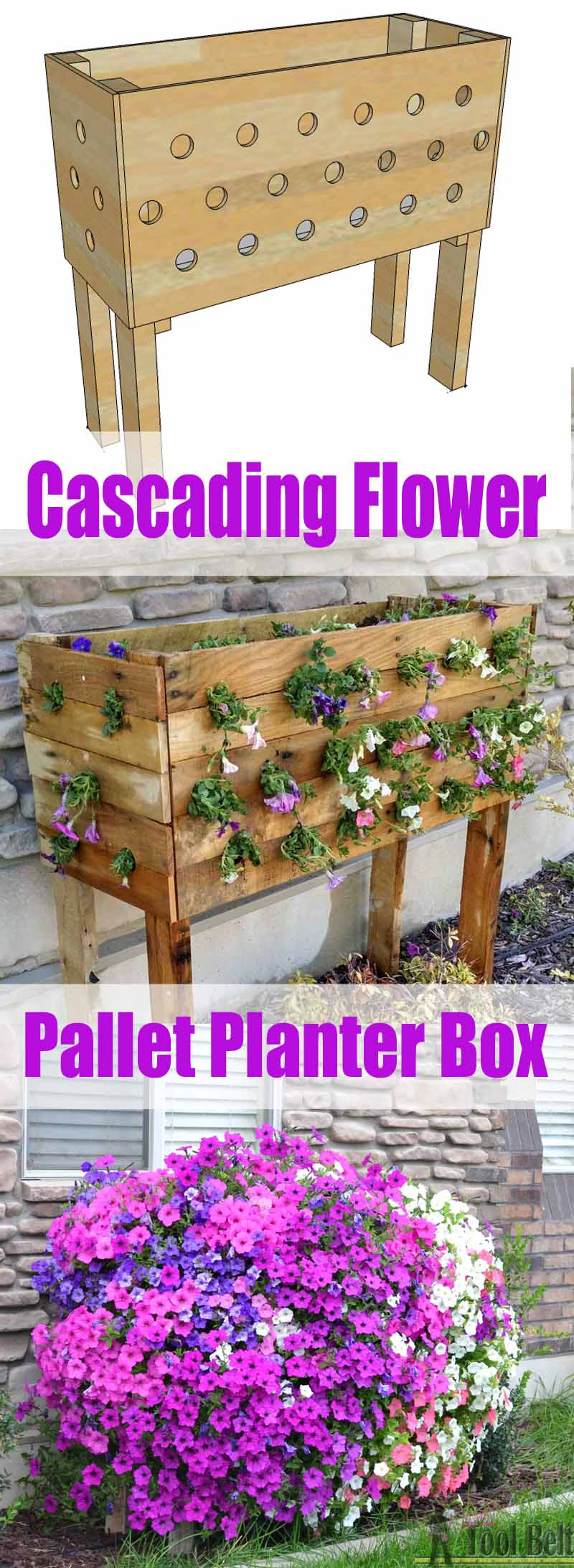 DIY Cascading Flower Pallet Planter Box.