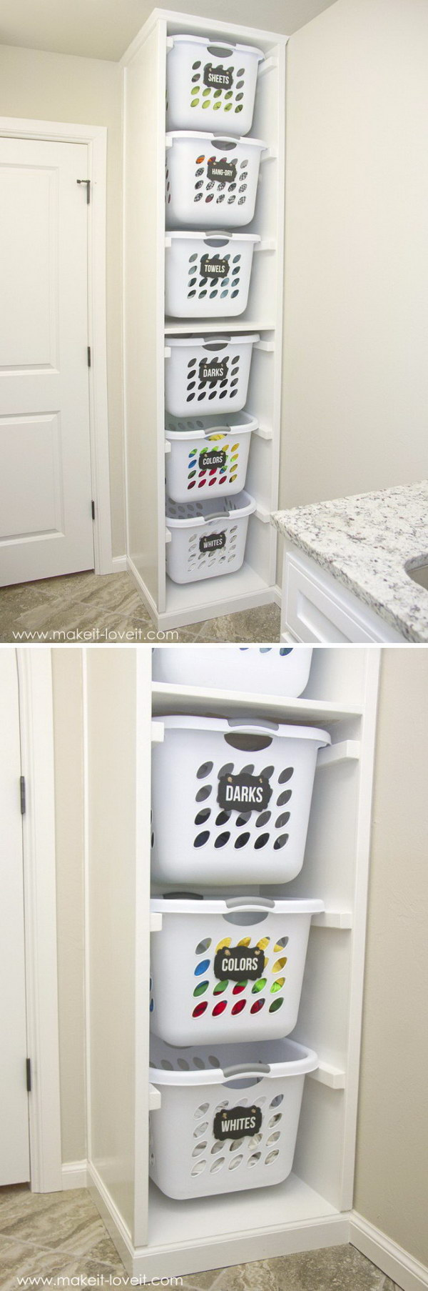 Declutter your room with this DIY laundry basket organizer.