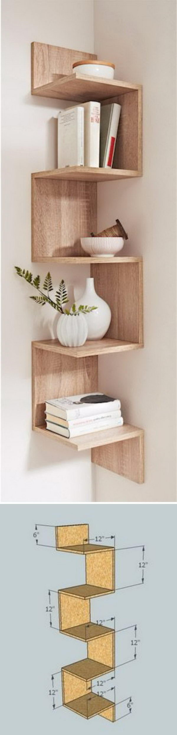 DIY Corner Shelves.