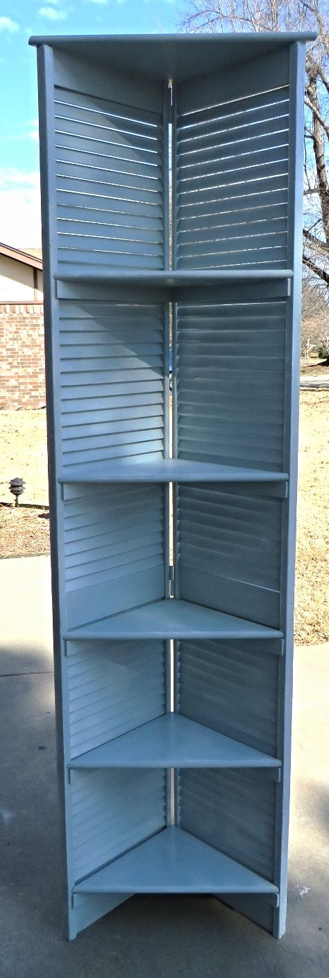 Easy way to make corner shelving from bifold shutter door.